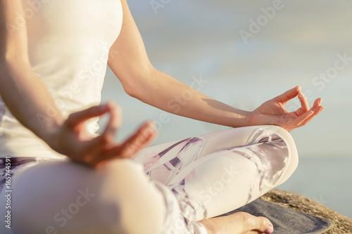Recess Fitting Zen yoga woman meditating outdoors