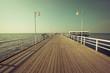 Jurata,Poland-September 9,2016:Wooden pier in Jurata town on coast of Baltic Sea, Hel peninsula, Poland