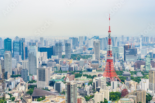 Plakat Krajobraz centrum miasta i Wieżę Tokijską
