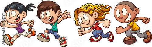 Cartoon running kids. Vector clip art illustration with simple gradients. Each in a single layer.  © Memoangeles
