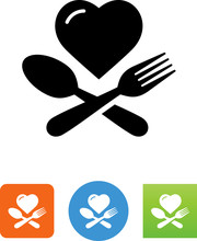 Heart With Fork And Spoon Icon - Illustration