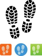 Hiking Boot Print Icon - Illustration