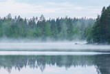 Foggy calm lake and forest at summer night - 165767940