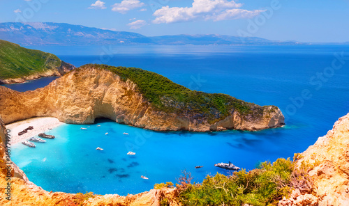Navagio bay and Ship Wreck beach in summer. Canvas Print