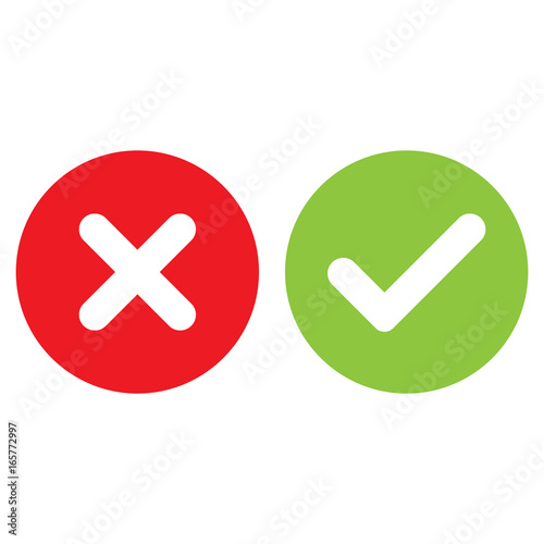check mark and cross mark isolated vector - Buy this stock