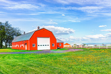 Red Orange Painted Barn Shed W...