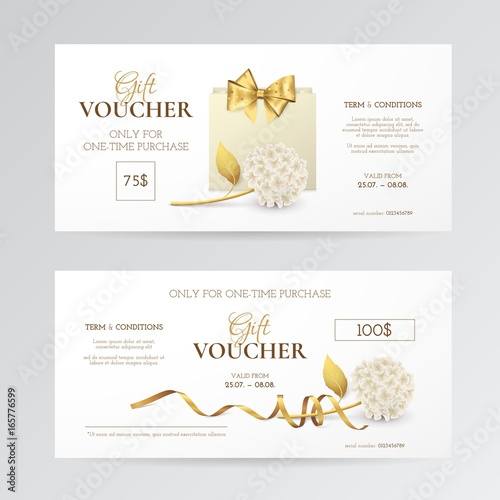 Vector set of elegant gift vouchers with hydrangea paper shopping vector set of elegant gift vouchers with hydrangea paper shopping bag golden bow and yelopaper Images