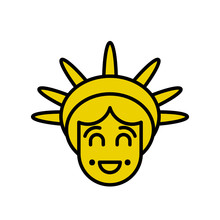 Statue Of Liberty Emoji. Sightseeing America. Happy Head Of Sculpture Of United States.  Lucky Avatar New York. American Symbol Of Freedom.