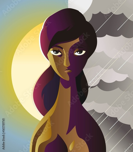 african bipolar woman on a clearly sun sky and a storm background Tablou Canvas