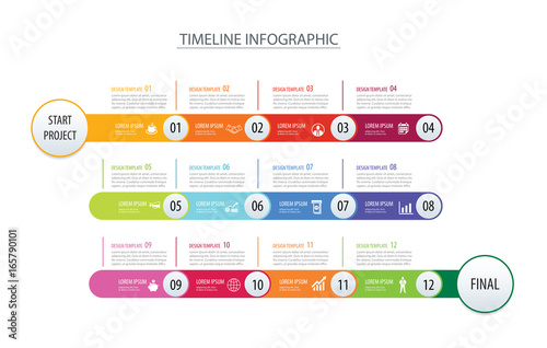 Obraz Infographic timeline 1 year template business concept arrows.Vector can be used for workflow layout, diagram, number step up options, web design - fototapety do salonu