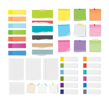 Set Of Sticky Note And Torn Paper Sheets Isolated Background.