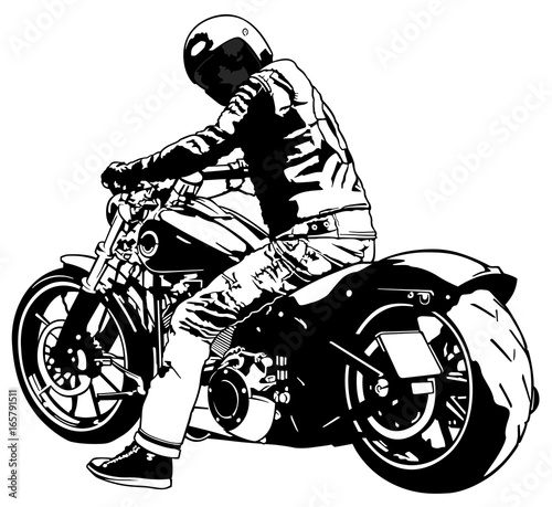 Bike and Rider - Black and White Illustration, Vector Slika na platnu