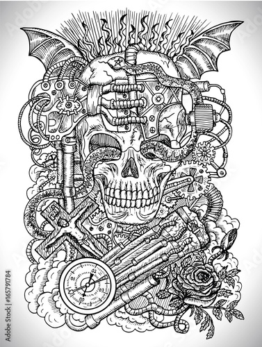 Black And White Drawing With Scary Skull Steampunk And Ghotic