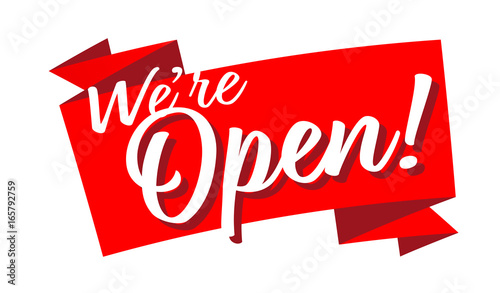 "Fotografia, Obraz  ""We're open"" sign"