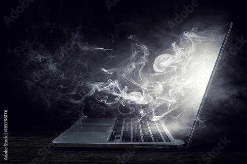 Fotografia, Obraz  Laptop device damage. Mixed media