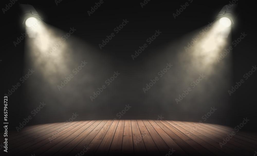 Fototapeta Spotlights illuminate empty stage with dark background. 3d rendering
