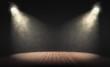 Leinwandbild Motiv Spotlights illuminate empty stage with dark background. 3d rendering