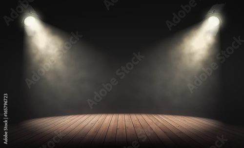 Aluminium Prints Light, shadow Spotlights illuminate empty stage with dark background. 3d rendering