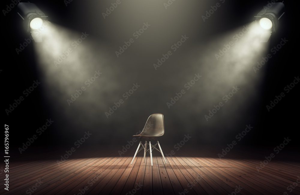 Fototapety, obrazy: Spotlights illuminate empty stage with chair in dark background. 3d rendering