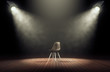 canvas print picture - Spotlights illuminate empty stage with chair in dark background. 3d rendering