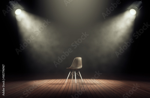 Spoed Foto op Canvas Licht, schaduw Spotlights illuminate empty stage with chair in dark background. 3d rendering