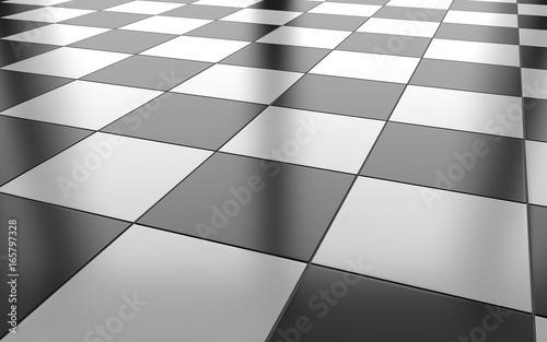 Black And White Glossy Ceramic Tile Floor Background 3d Rendering