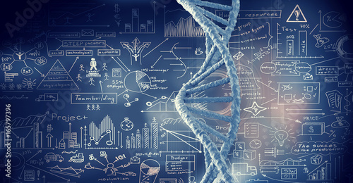 Fotografía  DNA molecule spiral. Mixed media