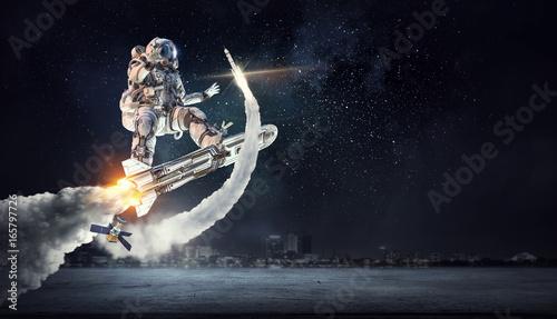 Foto op Canvas UFO Spaceman on flying board. Mixed media