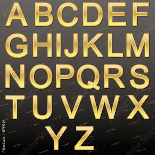 Design elements - gold 3D font  Set  Vector illustration