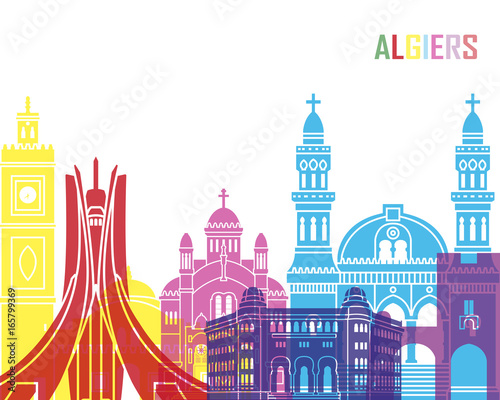 Algiers skyline pop Wallpaper Mural