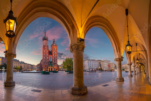 Fototapeta Krakow. Image of Krakow Market square, Poland during sunrise. obraz