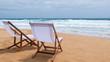 Beach Chair, White Fabric on Karon Beach, Phuket, Thailand