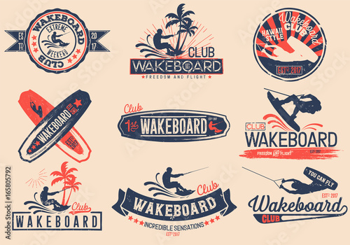Vintage vector set of logos for the wakeboard club for your unique design, printing on a T-shirt, the Internet Canvas Print