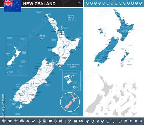 New Zealand - infographic map and flag illustration Wallpaper Mural