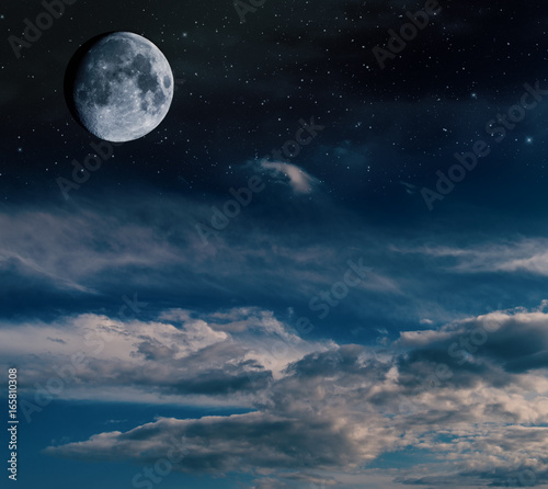 Fototapety, obrazy: Half moon with stars and nebulae.