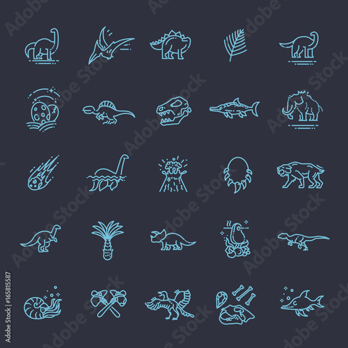 Photo  Dinosaur icons vector
