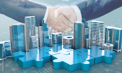 merger and acquisition business concepts, join puzzle pieces Wallpaper Mural