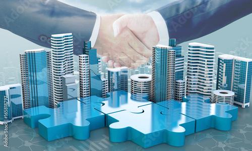 merger and acquisition business concepts, join puzzle pieces Canvas Print