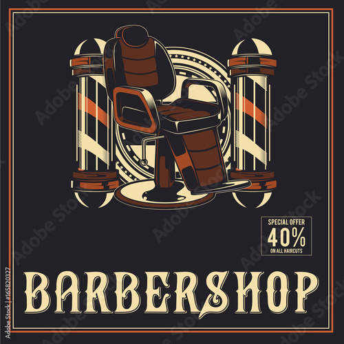 Barber Shop retro vector poster design Canvas Print