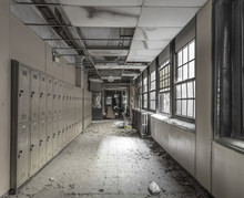 View Down A Hallway In An Abandoned High School