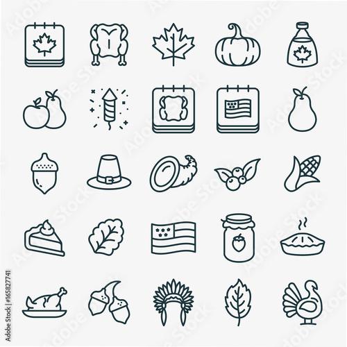 Photo  Thanksgiving Minimal Flat Line Stroke Icon Pictogram Symbol Illustration Set Col