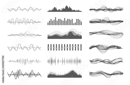 Photo  Vector music sound waves