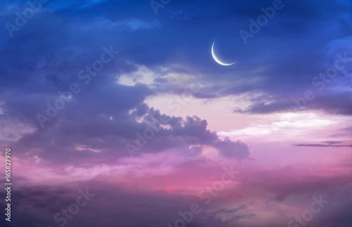 Photographie  Romantic sunset and mystical moon