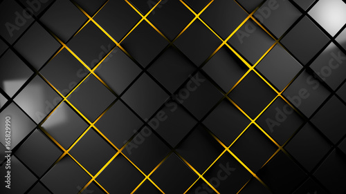 grey and orange  squares modern background 3d render illustration