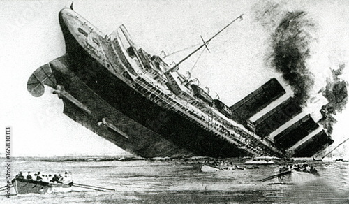 Fototapeta Sinking of the ocean liner Lusitania (sketch from the English newspaper, May 1