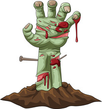 Cartoon Zombie Hand Out Of The...