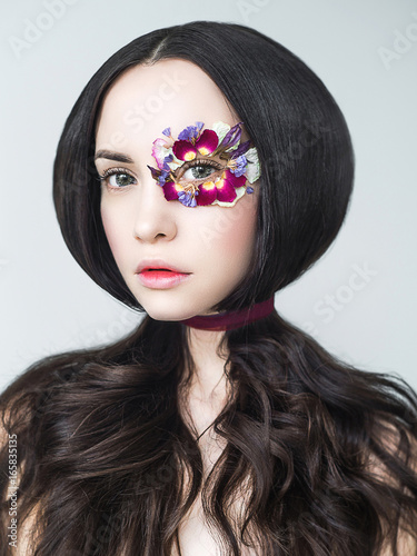 Fototapeta Unusual makeup with flowers