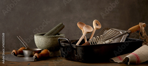 Photo  Kitchen utensils on wooden table