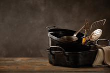 Kitchen Pots And Utensils On W...