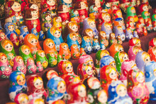 Colourful Babushka Dolls Neatly Arranged